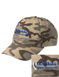 Waikiki Elementary School Waikiki Warriors Embroidered Camouflage Cotton Cap