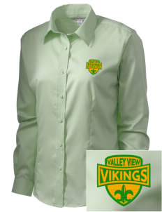 Valley View High School Vikings  Embroidered Women's Long Sleeve Non-Iron Twill Shirt