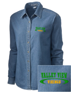 Valley View High School Vikings Embroidered Women's Denim Long Sleeve