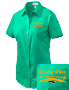 Valley View High School Vikings Embroidered Women's Easy Care Short Sleeve Shirt