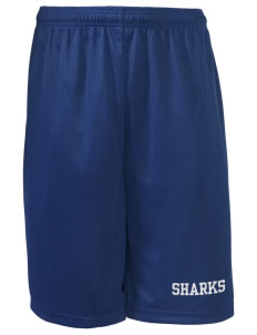 "Sherman Elementary School Sharks Long Mesh Shorts, 9"" Inseam"