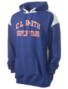 C L Smith Elementary School Super Stars Men's Pullover Hooded Sweatshirt with Contrast Color