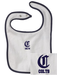 Heather Elementary School Colts Embroidered Baby Snap Terry Bib