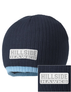Hillside Elementary School Hawks Embroidered Champion Striped Knit Beanie