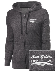 San Ysidro Elementary School Broncos Embroidered Women's Marled Full-Zip Hooded Sweatshirt