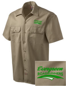 Evergreen Elementary School Roadrunners Embroidered Dickies Men's Short-Sleeve Workshirt