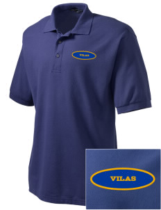 Vilas School Elementary Broncos - High School Raiders Embroidered Men's Silk Touch Polo