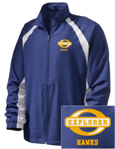 Explorer Elementary School Hawks  Embroidered Men's Full Zip Warm Up Jacket
