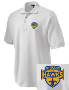 Explorer Elementary School Hawks Embroidered Tall Men's Pique Polo