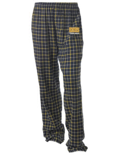 East Haven High School Yellow Jackets Unisex Button-Fly Collegiate Flannel Pant with Distressed Applique