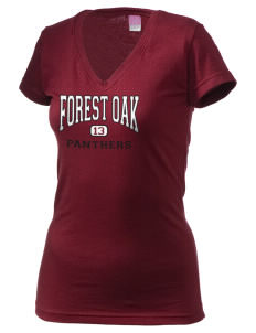 Forest Oak Elementary School Panthers Juniors' Fine Jersey V-Neck Longer Length T-shirt