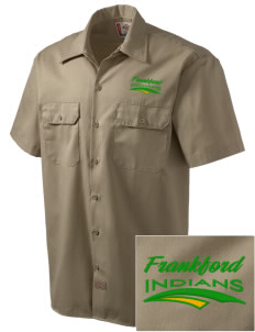 Frankford Elementary School Indians Embroidered Dickies Men's Short-Sleeve Workshirt