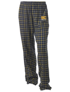Southwest Community Campus Bulldogs Unisex Button-Fly Collegiate Flannel Pant with Distressed Applique
