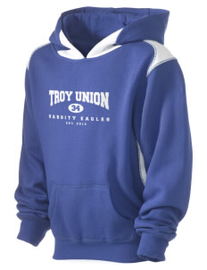 Troy Union Elementary School Eagles Kid's Pullover Hooded Sweatshirt with Contrast Color