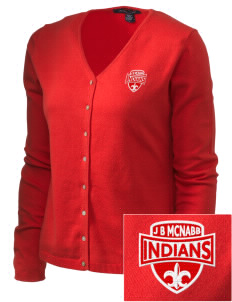 J B McNabb Middle School Indians Embroidered Women's Stretch Cardigan Sweater