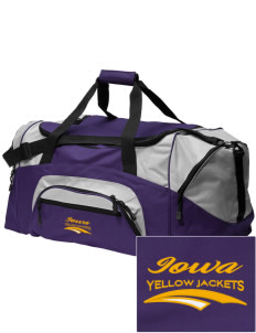 Iowa High School Yellow Jackets Embroidered Colorblock Duffel Bag