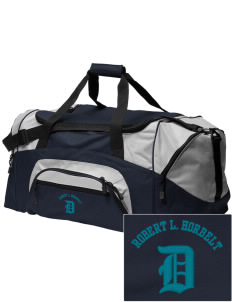 Robert L. Horbelt Dolphins Embroidered Colorblock Duffel Bag