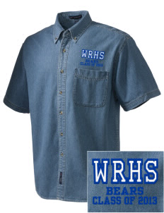 Winnisquam Regional High School Bears  Embroidered Men's Denim Short Sleeve