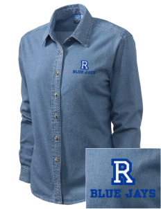 Raytown Middle School Blue Jays Embroidered Women's Long-Sleeve Denim Shirt