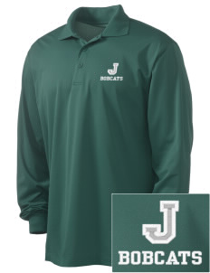 Jenkins Elementary School Bobcats Embroidered Men's Long Sleeve Micropique Sport-Wick Sport Shirt