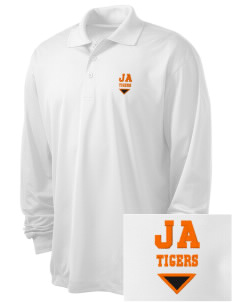 Jefferson Avenue Elementary School Tigers Embroidered Men's Long Sleeve Micropique Sport-Wick Sport Shirt