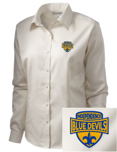 Independence Middle School Blue Devils  Embroidered Women's Long Sleeve Non-Iron Twill Shirt