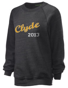 Clyde High School Fliers Unisex Alternative Eco-Fleece Raglan Sweatshirt with Distressed Applique