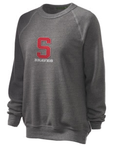 Smithville Elementary School Braves Unisex Alternative Eco-Fleece Raglan Sweatshirt with Distressed Applique