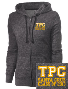Tierra Pacifica Charter School Santa Cruz Embroidered Women's Marled Full-Zip Hooded Sweatshirt