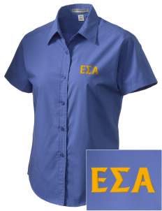 Epsilon Sigma Alpha Embroidered Women's Short Sleeve Easy Care, Soil Resistant Shirt