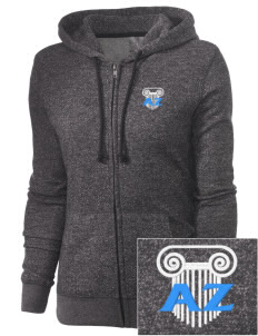Alpha Zeta Embroidered Women's Marled Full-Zip Hooded Sweatshirt