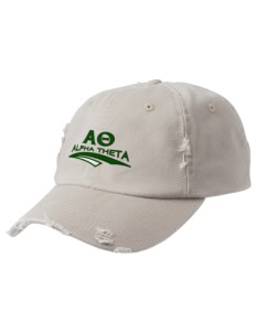 Alpha Theta Embroidered Distressed Cap