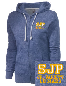 St Joseph Parish Le Mars Embroidered Women's Marled Full-Zip Hooded Sweatshirt