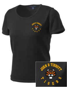 John R Tibbott School Tigers Embroidered Women's Fine-Gauge Scoop Neck Sweater