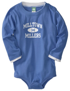 Milltown Elementary School Millers  Baby Long Sleeve 1-Piece with Shoulder Snaps