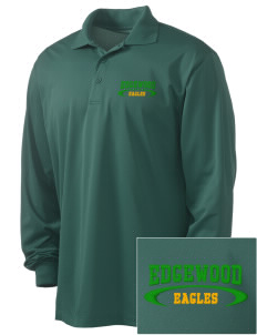 Edgewood Elementary School Eagles Embroidered Men's Long Sleeve Micropique Sport-Wick Sport Shirt
