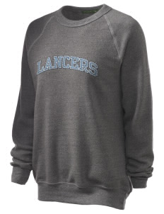 Meservey-Thornton School Lancers Unisex Alternative Eco-Fleece Raglan Sweatshirt with Distressed Applique