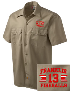 Franklin Elementary School Fireballs Embroidered Dickies Men's Short-Sleeve Workshirt