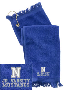 Newell-Fonda Middle School Mustangs  Embroidered Grommeted Finger Tip Towel