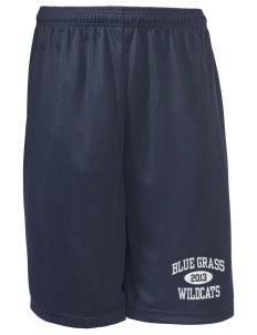 "Blue Grass Elementary School Wildcats Long Mesh Shorts, 9"" Inseam"
