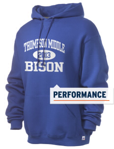 Thompson Middle Elementary School Bison Russell Men's Dri-Power Hooded Sweatshirt