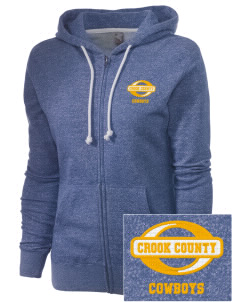 Crook County High School Cowboys Embroidered Women's Marled Full-Zip Hooded Sweatshirt