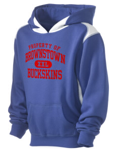 Brownstown Elementary School Buckskins Kid's Pullover Hooded Sweatshirt with Contrast Color