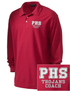 Parkland High School Trojans Embroidered Men's Pima Pique Long-Sleeve Polo