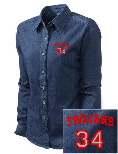 Parkland High School Trojans Embroidered Women's Long-Sleeve Denim Shirt