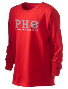 Parkland High School Trojans Kid's 6.1 oz Long Sleeve Ultra Cotton T-Shirt