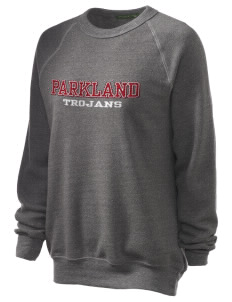 Parkland High School Trojans Unisex Alternative Eco-Fleece Raglan Sweatshirt with Distressed Applique
