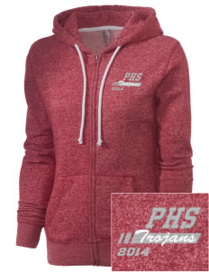 Parkland High School Trojans Embroidered Women's Marled Full-Zip Hooded Sweatshirt