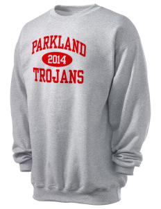 Parkland High School Trojans Men's 7.8 oz Lightweight Basic Crewneck Sweatshirt