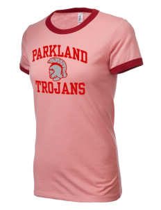 Parkland High School Trojans Women's Heather Jersey Short-Sleeve Ringer T-Shirt